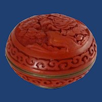Cinnabar Resin Burnt Red Covered Trinket Dish