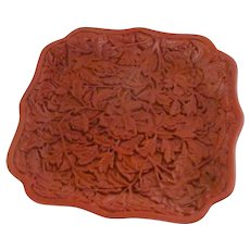 Lacquered Style Cinnabar Engraved Dish