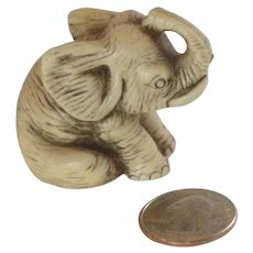 Adorable White Resin Miniature Elephant