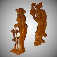 Wood Carved Man And Woman Asian Plaques