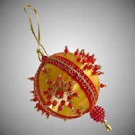 Handmade Beaded Red and Gold Christmas Ornament