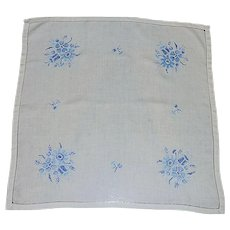 White Linen Small Tablecloth with Blue Cross Stitch