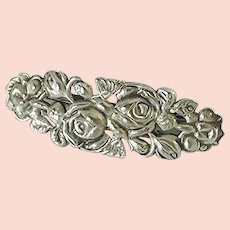 Vintage Silver Tone Floral Barrette