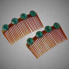 Set of 2 Hair Combs with Turquoise Rhinestones