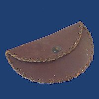 Small Half Moon Leather Pouch with Snap