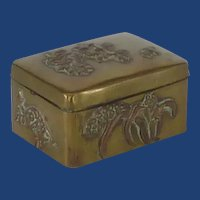 Old Vintage Brass Stamp Box
