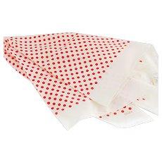 Echo Silk Red Polka Dot on White Scarf
