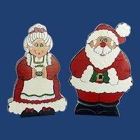 Wood Hand Painted Santa Claus Mrs. Claus Folk Art