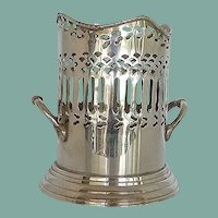 Silver Plate Handled Large Wine Holder Caddy