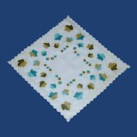 Aqua and Green Leaves Handkerchief Hanky