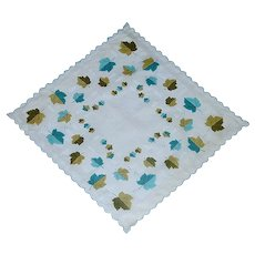 Aqua and Green Leaves Handkerchief Hanky