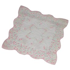 Pink Organza Handkerchief with Pink and Yellow Flowers