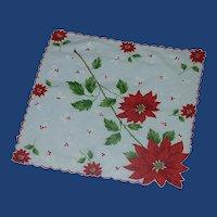 Christmas Poinsettia Flowers Handkerchief Hankie