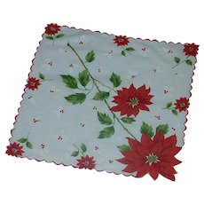 Christmas Poinsettia Flowers Handkerchief Hankie