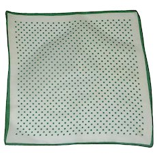 White and Green Polka Dot Handkerchief Hanky