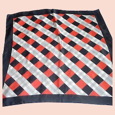 Black, Red and Grey Checkerboard Square Silk Scarf