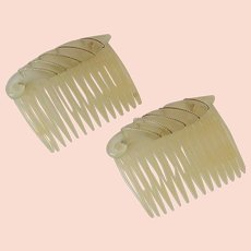 Simple Vintage Set of Hair Combs with Wire