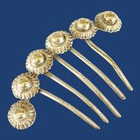Five Prong Silver Toned Head Comb 1940's