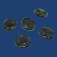 Set of 6 Black Bakelite Buttons 1940's