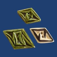 Three Handmade Ceramic Buttons