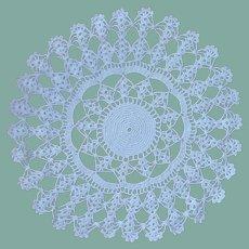 White Round Scalloped Edge Crocheted Doily