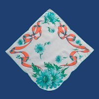 Aqua Daisies and Orange Ribbon Handkerchief Hanky