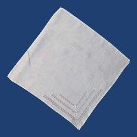 White Pull Work Linen Vintage Handkerchief