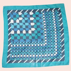 Jean Desses Silk Aqua Blue White Scarf