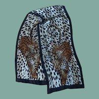 Leopard Cat Long Silk Scarf