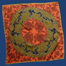 Vera Orange, Black and Gold Silk Scarf