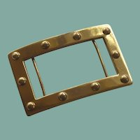 Large Gold Plate Two Bar Belt Buckle