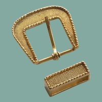 Century Canada Gold Tone Belt Buckle and Loop