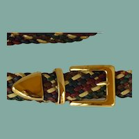 Multi-Colored Braided Belt Gold Tone Buckle