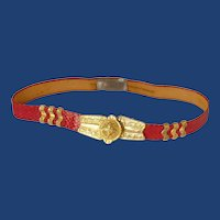 Red Faux Snake Skin Gold Tone Buckle Belt