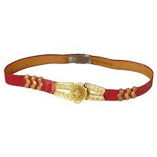Red Faux Snake Skin Gold Tone Buckle Belt