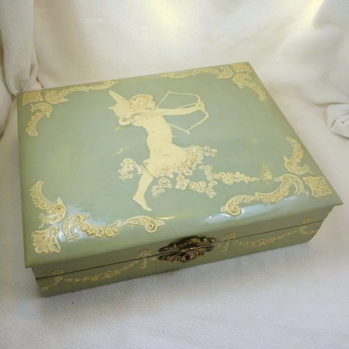 Light Green 1920s Celluloid Jewelry Box with Cupid Rare Finds