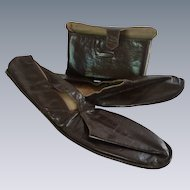 Men's Leather House Shoes in Envelope Pouch Size 12