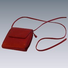 Red Leather Wallet Billfold Purse with Strap