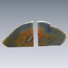Blue and Orange Agate Geode Polished Bookends