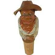 Hand Carved  Cowboy Wine Cork with Moving Hat