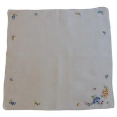 Embroidered Flowers on White Linen Vintage Handkerchief