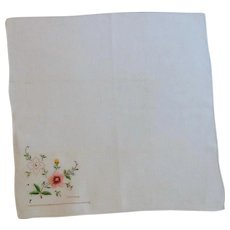 Pink Embroidery on White Linen Vintage Handkerchief