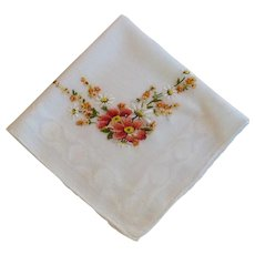 Orange Embroidery on White Linen Vintage Handkerchief