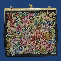 Petit Point Floral Large Evening Bag Purse
