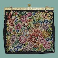 Petit Point Floral Large Evening Bag Purse
