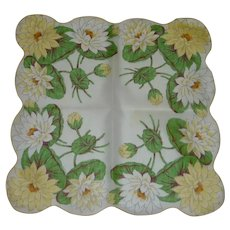 Cotton White and Yellow Lillie Pad Handkerchief