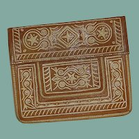 Gorgeous Tangier Moroccan Camel Leather Purse 1975