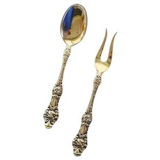 TH Marthinsen Silver Plated Lemon Fork and Sugar Spoon Set