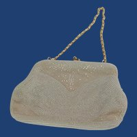 Italian Beaded White Evening Bag Purse Bon Soir