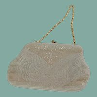 Italian Beaded White Evening Bag Purse Bon Soir
